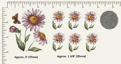 7 x Ceramic decals Decoupage Pink Daisies Flowers Floral Butterfly 2 sizes B4