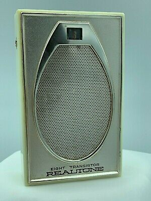 VINTAGE Realtone Eight Transistor Radio TR-1843 Made in Japan - BEIGE – WORKING