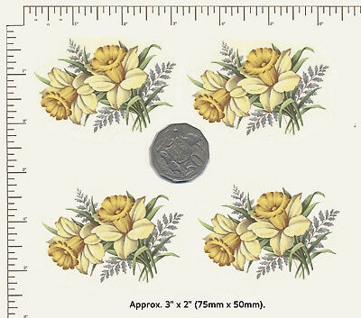 "4 x Ceramic decals Decoupage Daffodils Yellow flowers Approx. 3"" x 2"" PD935"