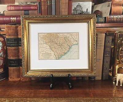 Framed Original 1891 Engraved Antique Map SOUTH CAROLINA Columbia Greenville SC