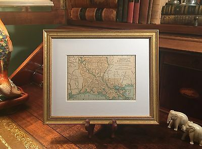 Framed Original 1896 Antique Map LOUISIANA Lake Charles New Orleans Baton Rouge