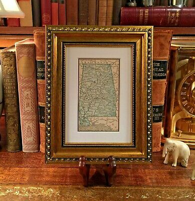 Framed Original 1889 Antique Map ALABAMA Mobile Opelika Decatur Huntsville Selma