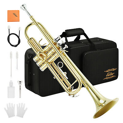 Standard Bb Trumpet Set For Student Beginner with Mouthpiece Strap Gloves Case
