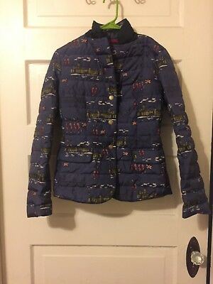 Women s Boden London Print Quilted Snap Puffer Coat Jacket Sz USA 4 UK 8 fef8533e5