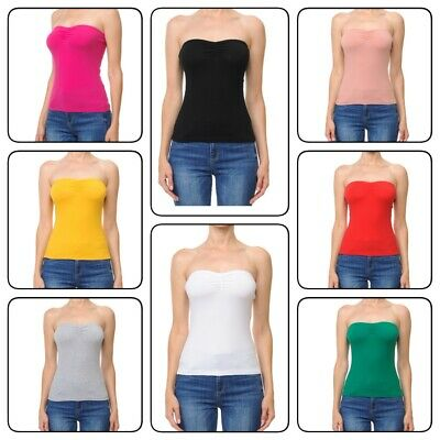 2a225bae0f Womans BASIC Layering Stretch PLAIN Strapless TUBE TOP Seamless Sleeveless  Tee