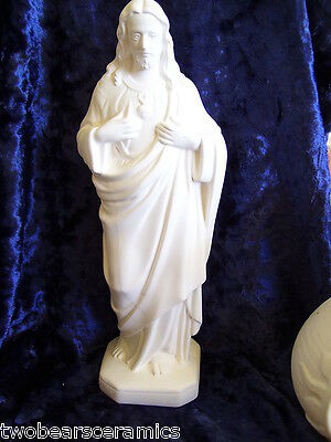 Ceramic Bisque Jesus of the Sacred Heart 35 cm tall