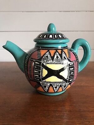 Vintage Australian Studio Pottery Hand Painted Large Glazed Teapot Signed