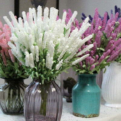 12Heads Bunch of Artificial Lavender Sprigs Country Farmhouse Fake Silk Flowers