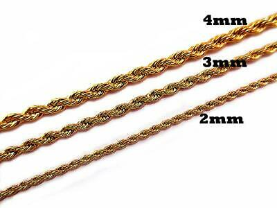 2mm 3mm 4mm Stainless Steel 24K Gold Finish Rope Twist Twisted Chain Necklace