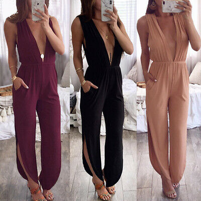 Womens Plunge V Neck Clubwear Playsuit Party Jumpsuit Romper High Slit Trousers