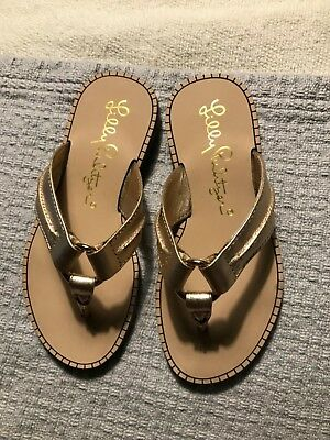 d588a04fc Lilly Pulitzer Girls Gold Leather Mini Mckim Sandals Size 8 New Free  Shipping