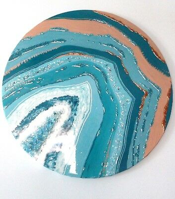 RESIN TEAL & ROSE GOLD AGATE GEODE ORIGINAL ROUND PAINTING w GEMSTONE & CRYSTALS