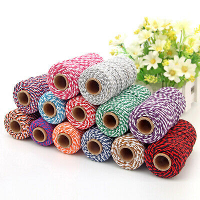 1 Roll Of 100m Colored Twisted Cotton Cord DIY Crafts Gift Packaging Wrap Rope