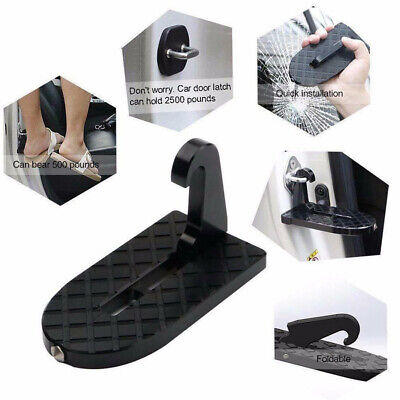 Folding Car Door Latch Hook Step Foot Pedal Ladder for Jeep SUV Truck Roof Black