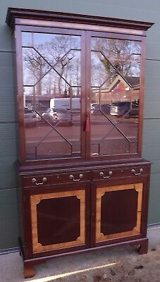 Large Redman & Hales Mahogany Astral-Glazed Library Bookcase Antique Style