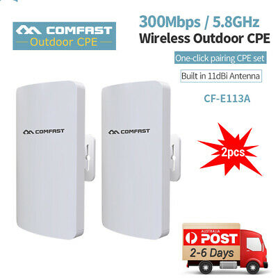 2x COMFAST 5.8G Wireless WiFi Bridge Outdoor CPE Point Signal Extender Repeater