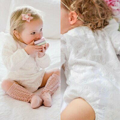 Comely Baby Toddler Girls Lace Floral Romper & Bowknot Headband Newborn Outfit