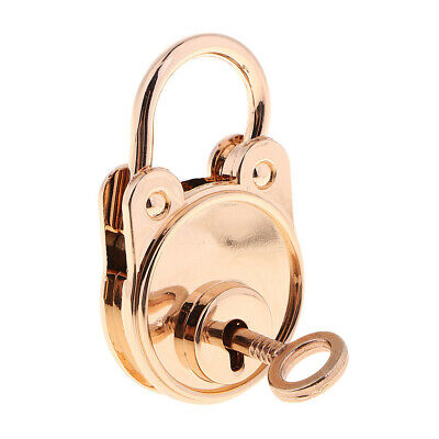 Antique Vintage Padlocks with Key Bear Shaped for tiny craft diary Gold