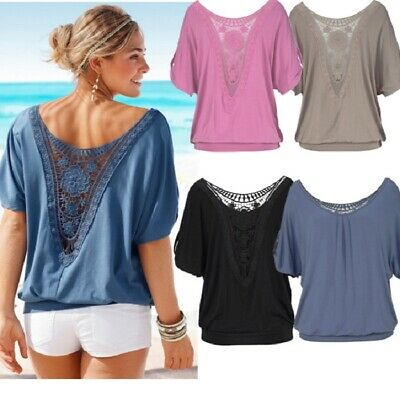 CA Womens Summer Loose T Shirt Short Sleeve Blouse Ladies Casual Tops Plus Size