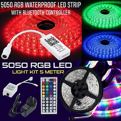 5m RGB SMD 5050 LED Water Proof Strip Light Flexible Lighting IR Controller