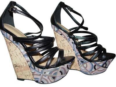 """Liliana New Wedge Heel Platforms, 5"""", Strappy with Abstract Print, US 6"""