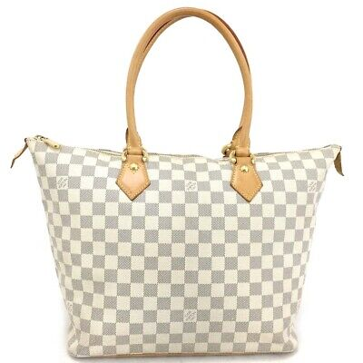 5e9afe262219 100% Authentic Louis Vuitton Damier Azur Saleya MM Shoulder Tote Bag  e481