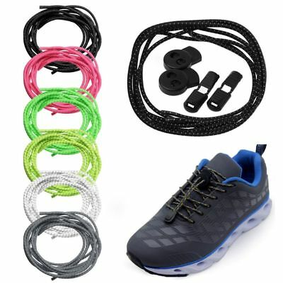 f9b4f63b59a2 Shoe Strings No Tie Lazy Laces Elastic Round Buckle Shoes Shoelaces  Reflective