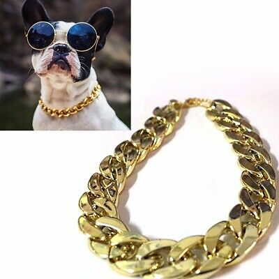 36cm Pet Puppy Dog Adjustable Chain Collar Punk Golden Plated Cat Safety Collar