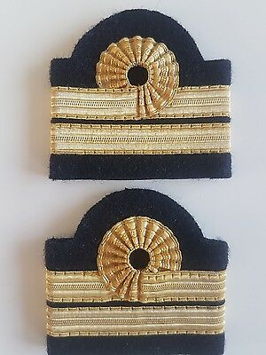 galons aviation, paire epaulette or 2 bandes boucle nelson