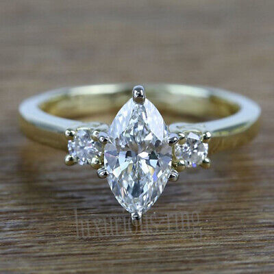 1.74 Ct All 3 Stone Near White Moissanite Engagement Ring 10k Solid Yellow Gold