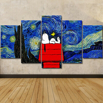 """LARGE 60""""x32"""" 5Panels Canvas Painting Disney Snoopy Print Starry Night on Canvas"""