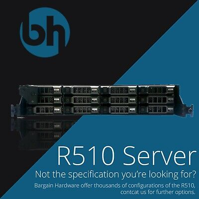 "Dell R510 Storage Server 2U EMC 2x Six Core Xeon 12x 3.5"" PERC H700 Configurable"