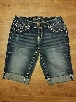 4dba3f402d072 ARIYA JEAN BERMUDA Denim Shorts Pants Womens Juniors 5 6 Destroyed ...