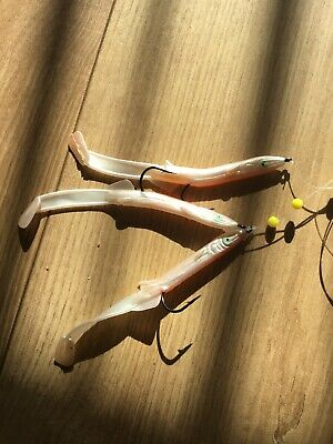 "ready tied cod bashing rig 3"" Elvers On Size 1 Hooks X 5 Mackerel Cod Pollock"