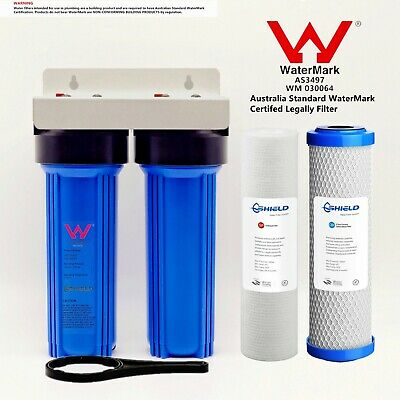 """Whole House Twin 10"""" X 2.5"""" Water Filter System 2 Stages 3/4"""" Brass Port"""