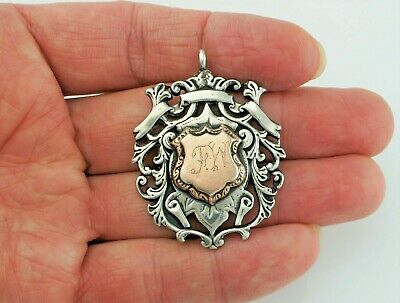 Large Antique Sterling Silver & Gold Inlaid Albert Pocket Watch Fob Medal - 1911