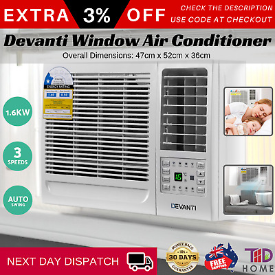 Devanti Window Wall Box Air Conditioner Refrigerated Cooler Cooling Fan 1.6KW WH