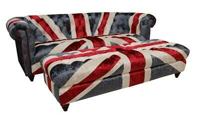 Chesterfield Union Jack Velvet Sofa 3 Seater Settee With Ottoman