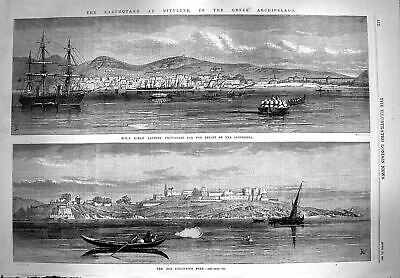 Original Old Antique Print 1867 Ship Ocean Earthquake Mitylene Byzantine Fort