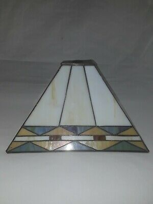 Vintage large Tiffany style stained glass lamp fixture ceiling light shade