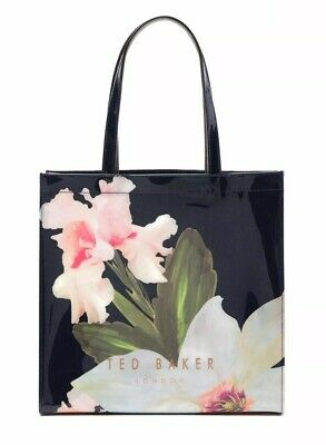 83eb470c660927 NWT Ted Baker London Hermcon Chatsworth Bloom Large Icon Tote Bag Navy