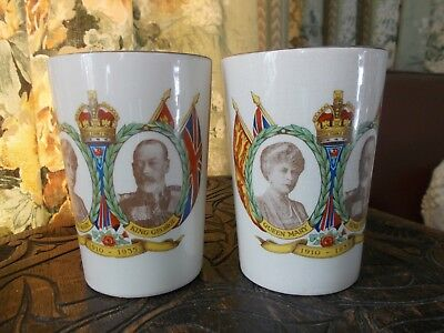 Vintage 1935 Silver Jubilee Queen Mary & King George Tumblers/ Beakers