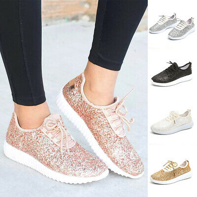 Women Casual Sequin Lightweight Lace-up Glitter Sneakers Summer Bling Flat  Shoes 1916c4d60