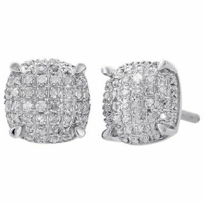 925 Sterling Silver Diamond Studs 9mm Squircle 4 Prong Pave 3D Earrings 0.33 Ct.