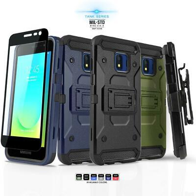 for SAMSUNG GALAXY J2 PURE, [Tank Series] Phone Case & Holster +Tempered Glass