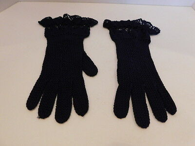 *Vintage Crocheted Ladies Navy Blue Cotton Dress Gloves Unlined Size Small