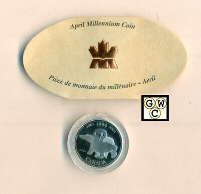 1999 *April* Canadian 25 Cent Proof Sterling Silver Millenium Coin (OOAK)