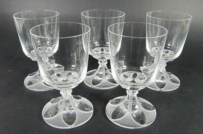 French LALIQUE Signed VALENCAY Cristal Wine Glass Set of 5 Flower 1970s