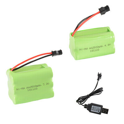 4.8V/7.2V 2500mAh NI-MH AA Charge Battery with SM Plug + USB Cable for Car Toys