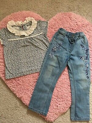 NEXT Girls Jeans And Top Outfit 2-3 Yesrs